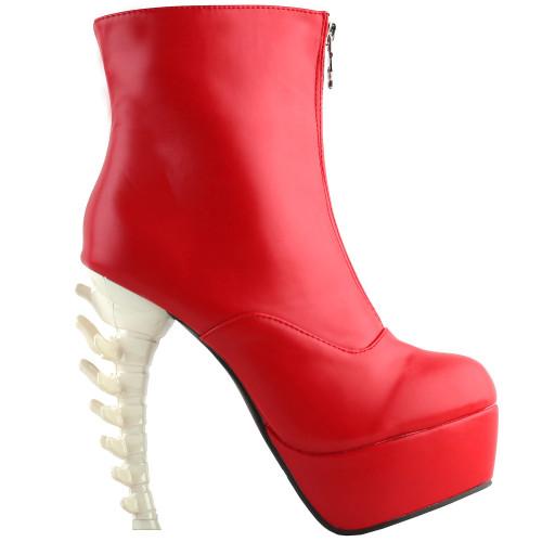 SHOW STORY Cool Red Beige Skull Zipper High-top Bone Heels Platform Ankle Boots