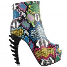 SHOW STORY Cool Multicoloured Snake Skin Print Peeptoe High-top Bone Hidden Platform Ankle Boots