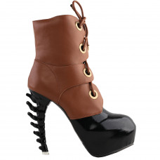 SHOW STORY Cool Brown Black Two Tone Lace-Up High-top Bone Heels Platform Ankle Boots
