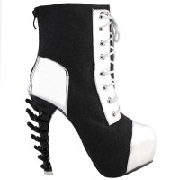 SHOW STORY Cool Dark Grey Silver Two Tone Lace-Up High-top Bone Heels Platform Ankle Boots