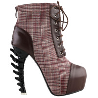 SHOW STORY Vintage Brown Two Tone Lace-Up High-top Bone Heels Platform Ankle Boots