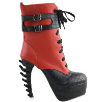 SHOW STORY Cool Brown Black Two Tone Lace-Up Buckle High-top Bone Heels Platform Ankle Boots
