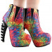 SHOW STORY Cool Multicoloured Feather Print High-top Bone Heels Platform Ankle Boots