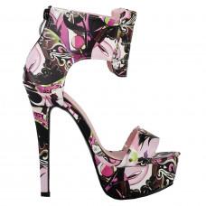 SHOW STORY Baby Pink Peking Opera Peeptoe Back-Zip Platform Pump Sandals,LF80848