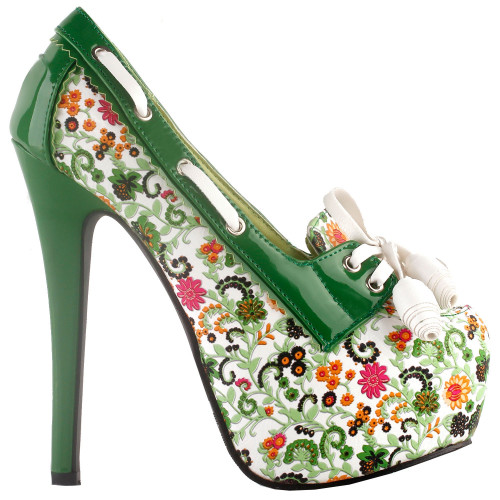 SHOW STORY Retro Floral Print Lace-Up Platform High Heel Stiletto Pumps