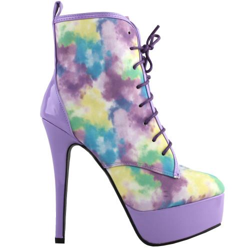 SHOW STORY Retro Purple Lace-Up Platform Stiletto High Heels Ankle Boot Bootie