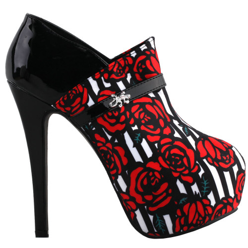 SHOW STORY Black Red Rose Print Stripe Hidden Platform Stiletto Ankle Boot Bootie