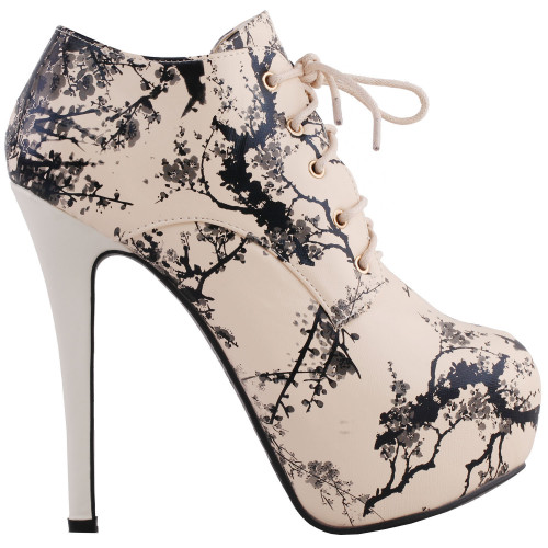 SHOW STORY Retro Black Beige Chinese Ink and Wash Lace-Up Platform Stiletto Ankle Boot Bootie