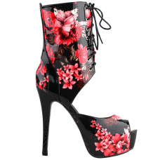 SHOW STORY Retro Black Red Floral Print Lace-Up Platform High Heel Club Ankle Bootie Sandals