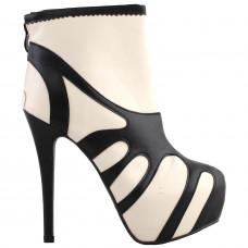SHOW STORY Retro Beige Black Two Tone Platform Stiletto High Heels Ankle Boot Bootie