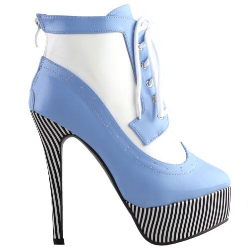 SHOW STORY Retro Lace-Up Stripe Print Platform Stiletto High Heels Ankle Boots