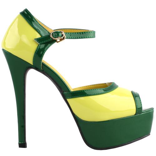 SHOW STORY Retro Yellow Green Two Tone Mary Jane Platform High Heel Club Sandals LF80892YL