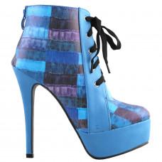 SHOW STORY Retro Lace-Up Check Print Platform Stiletto High Heels Ankle Boots LF80893BU