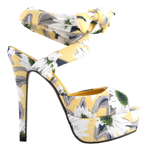 SHOW STORY Retro Yellow Floral Print Ankle Strap Platform High Heel Party Sandals LF80895YL