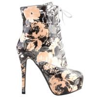 SHOW STORY Retro Black Beige Lace-Up Floral Print Platform Stiletto High Heels Ankle Boots