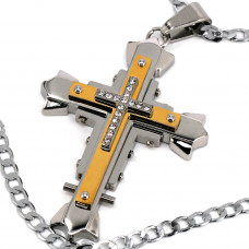 SCOO Men's Large Stainless Steel Gold Silver Cross Biker Pendant Necklace Vintage -with 19 inch Chain