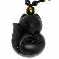 SCOO Hand Carved Natural Genuine Obsidian Fox Empress Amulet Pendant Necklace