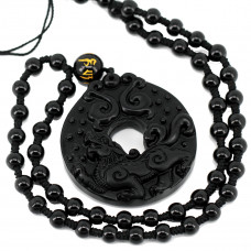 SCOO Hand Carved Natural Genuine Obsidian Round Pendnat Kirin Engraving Necklace Amulet Necklace
