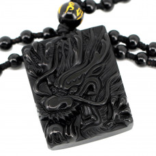 SCOO Hand Carved Natural Genuine Obsidian Dragon Amulet Pendant Necklace