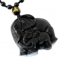 SCOO Hand Carved Natural Genuine Obsidian Mother Elephant & Baby Elephant Amulet Pendant Necklace