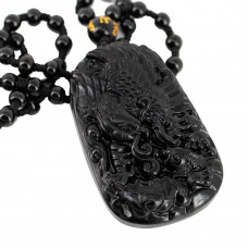 SCOO Hand Carved Natural Genuine Obsidian Eagle & Fish Amulet Pendant Necklace