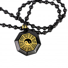 SCOO Jewelry Natural Black Obsidian Round Tai Chi Gossip Pendant Extend Bead Necklace