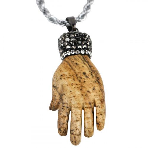 SCOO Fashion Hand of Buddha Buddhist Symbol Natural Stone Amulet Pendant Necklace