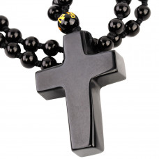 SCOO Hand Carved Natural Genuine Obsidian Cross Amulet Pendant Necklace