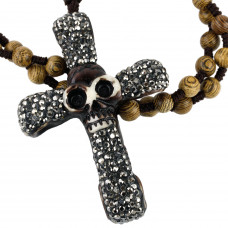 SCOO Fashion Skull Glittery Artificial Gem Cross Amulet Pendant Necklace