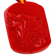 SCOO Hand Carved Natural Genuine Cinnabar Howling Wolf Head Amulet Pendant Necklace