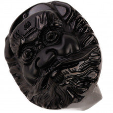 SCOO Hand Carved Natural Genuine Obsidian Buddha Zhong Kui Head Round Shape Belt Decoration