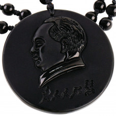 SCOO Hand Carved Natural Genuine Obsidian Mao Zedong Amulet Pendant Necklace Amulet Pendant Necklace