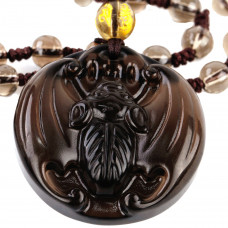 SCOO Hand Carved Natural Genuine Ice Obsidian Bat Amulet Pendant Necklace Amulet Pendant Necklace