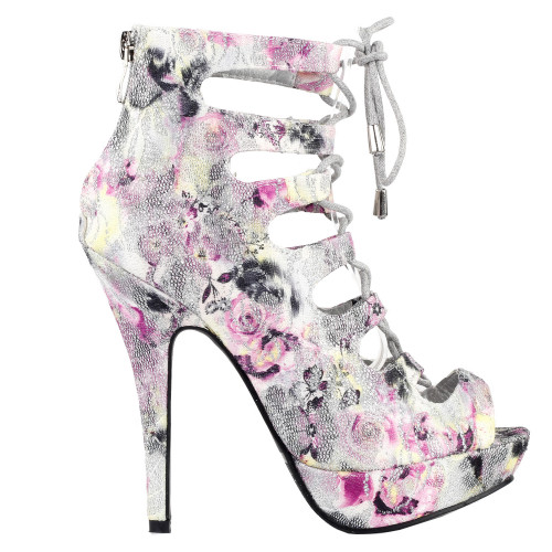 Glitter Silver Cut-Out Lace Up Gladiator Bootie Sandals