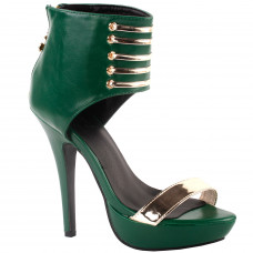 Punk Green Gold High Heels Stilettos Pumps with Ankle Strap Sandal