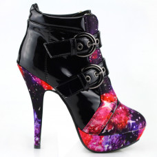 Show Story Punk Buckle Night Sky High Heel Stiletto Platform Ankle Boots