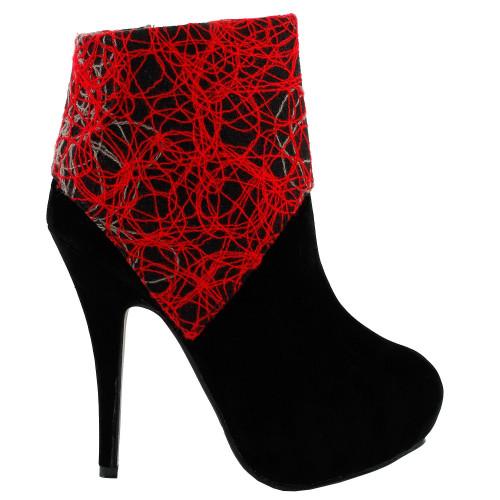 Elegant Red Grey Black Abstract Lines Print Zip Platform High Heel Stiletto Boot