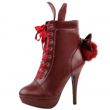 Red Cosplay Lolita Halloween Fancy Ear Tail Lace-up Platform Stiletto Ankle Boot