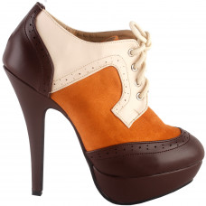 SHOW STORY Retro Brown Beige Lace-Up Platform Stiletto Ankle Boot Bootie
