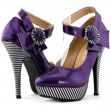 Ladies Flower Ankle Strap Stripe Platform Stiletto EVE Pumps