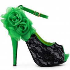 Show Story Sexy Lace Peep Toe Flowers Stiletto High Heel Platform Shoes