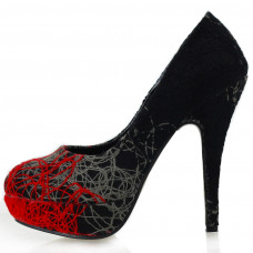 New Trendy Abstract Lines Stiletto High Heels Platform Shoes