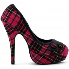 Hot Pink/Red Checkered Buttons Platform Stiletto Party Pumps