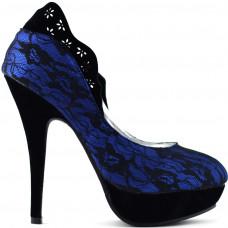 Ladies Black Lace Floral Print EVE Platform Stiletto Shoes