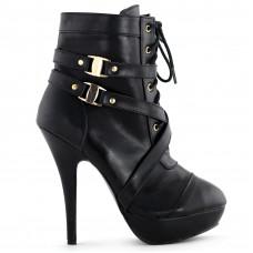 Sexy Punk Strap Buckles Zip High Heel Platform Ankle Boots