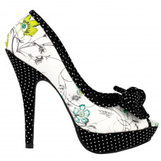 Sexy Bow Multicoloured Floral Polka Dot Platform Party Pumps