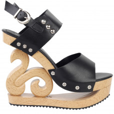 Black/Red/White Stud Wedge Platform Slingback EVE Clogs Sandals