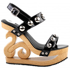 Sexy Metal Ball Strappy Slingback Wooden Look Wedges Platform Clogs Sandal Black