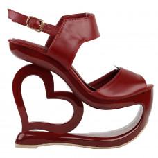 Sexy Wine Red Slingback Heart Heel Wedge Prom Platform Sandals