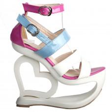 Sexy White Pink Blue Strappy Heart Heel Wedge Wedding Sandals
